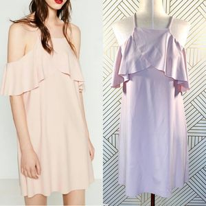 Zara Light Pink Off the Shoulder Dress with Frill